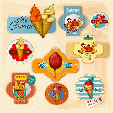 frozen dessert: Ice cream delicious frozen dessert paper labels set isolated vector illustration Illustration