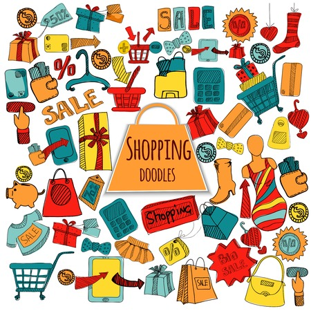 web store: Internet shopping web store doodle colored set isolated vector illustration Vettoriali