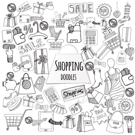 Shopping retail sale and discount doodle set isolated vector illustration