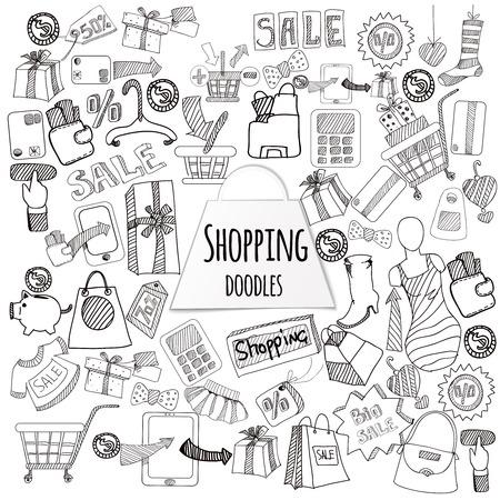Shopping vendita al dettaglio e di sconto doodle insieme illustrazione vettoriale isolato Archivio Fotografico - 40459345