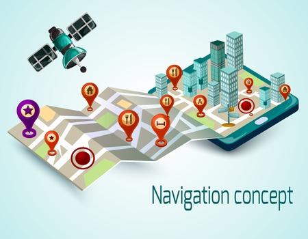 Concepto de navegación con el teléfono móvil de la historieta y el mapa isométrico con la ilustración vectorial marcadores de ruta Vectores