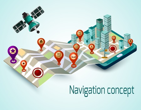 routing: Navigation concept with cartoon mobile phone and isometric map with route markers vector illustration Illustration