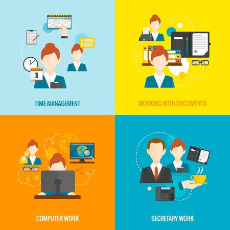 business desk: Personal assistant  design concept set with time management and secretary work flat icons isolated vector illustration Illustration