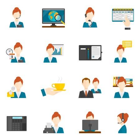 secretaria: Asistente secretario personal y recepción plana iconos conjunto ilustración vectorial aislado Vectores