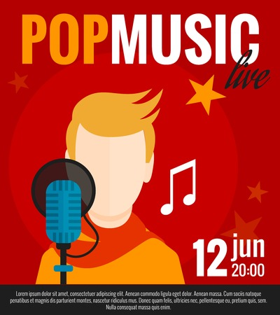 pop singer: Pop music concert promo poster with singer and microphone flat vector illustration