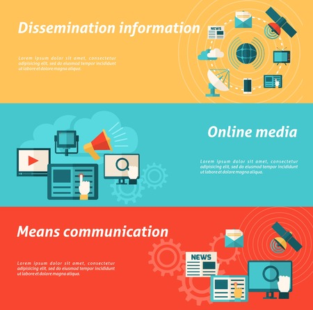 means: Media horizontal banner set with online communication and information elements isolated vector illustration