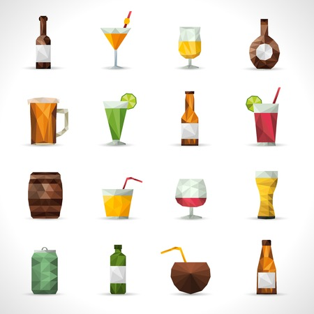 low light: Alcohol drinks polygonal icons set with beer bottle cocktail glass isolated vector illustration