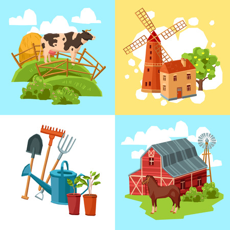 haystack: Farm design flat concept set with cow and haystack windmill and tree horse and barn and garden tools isolated  vector illustration