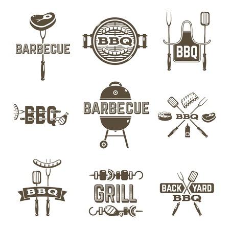 chorizos asados: Barbacoa y premium parrilla de etiquetas de calidad fijados aislados ilustración vectorial