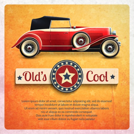 tire cover: Retro car poster with vintage red cabriolet auto vector illustration
