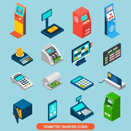 Iconos isométricos bancarias establecidas con cajeros automáticos y en efectivo aislado ilustración vectorial