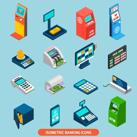 Isometric banking icons set with atm and cash machines isolated vector illustration