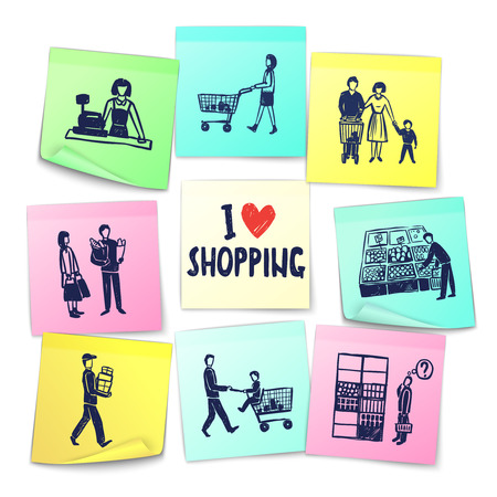 Sticker note style supermarket cards with cashier shopping cart counter delivery man grocery and happy family vector illustration