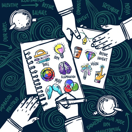 muse: Creative people concept with human hand drawing in sketchbook vector illustration