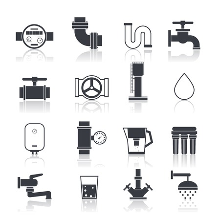 spurt: Water supply icons black set with sink bathtub bathroom accessories isolated vector illustration Illustration