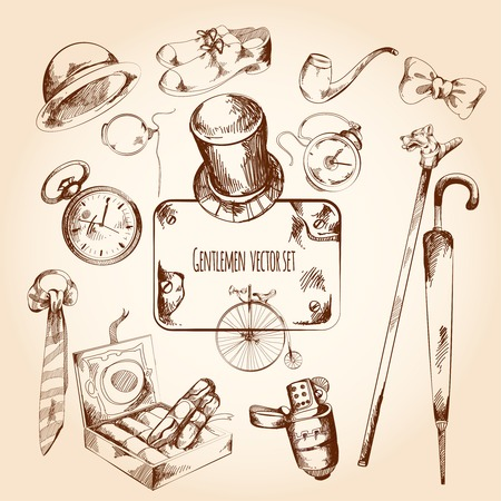 englishman: Gentleman sketch set with retro style watches monocle tie isolated vector illustration