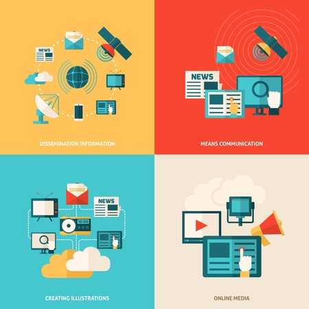 dissemination: Media design concept set with social online information flat icons isolated vector illustration