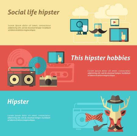 vie sociale: Bandeau horizontal Hipster sertie de la vie sociale et Loisirs �l�ments isol�s illustration vectorielle