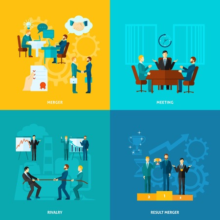 merger: Collaboration design concept set with meeting rivalry result merger flat icons isolated vector illustration