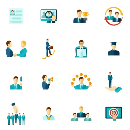 Career building icon flat set with personnel achievement symbols isolated vector illustration