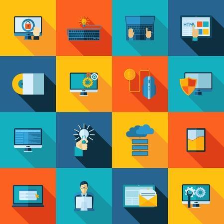 usability: Program development website usability and optimization flat icons set isolated vector illustration Illustration