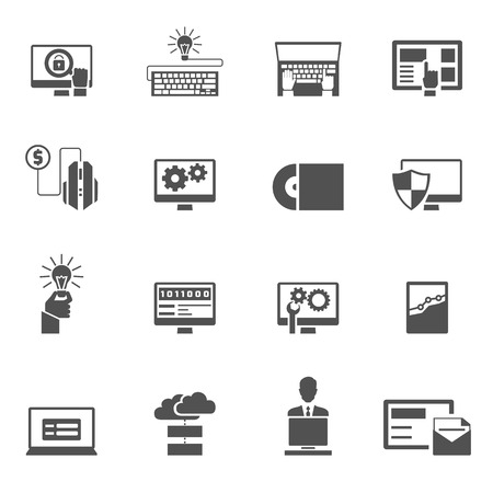 software code: Program development webpage coding and software development icons black set isolated vector illustration