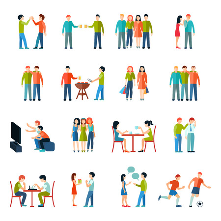people travelling: Friends relationship people society icons flat set isolated vector illustration
