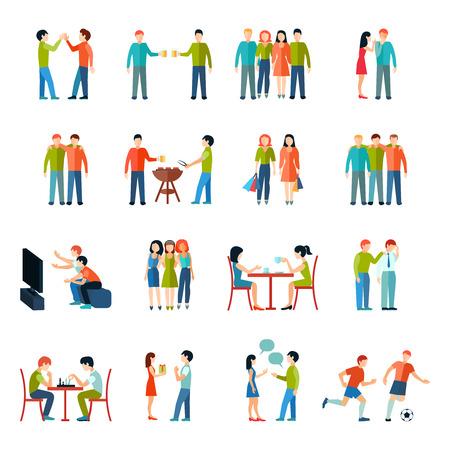 Van de de mensenmaatschappij van vriendenrelaties de pictogrammen vlakke reeks geïsoleerde vectorillustratie