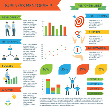 coaching: Mentoring infographics set with personal sports and business motivate management vector illustration