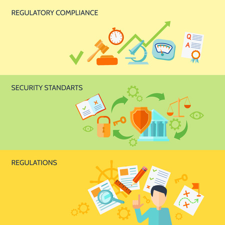 compliance: Compliance banner set with security standarts and regulations elements isolated vector illustration