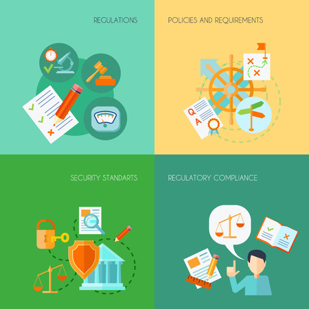 quality service: Compliance design concept set with regulations policies and requirements flat icons isolated vector illustration