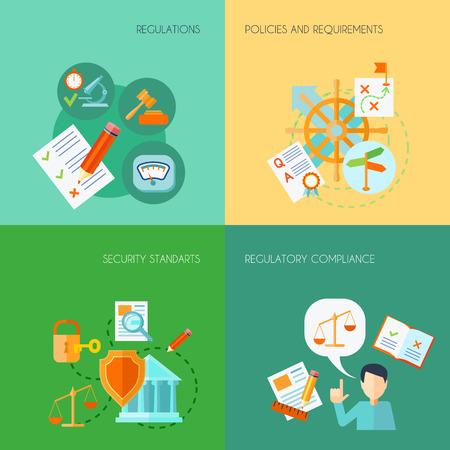 Compliance ontwerpconcept set met regelgeving beleid en eisen vlakke pictogrammen geïsoleerd vector illustratie