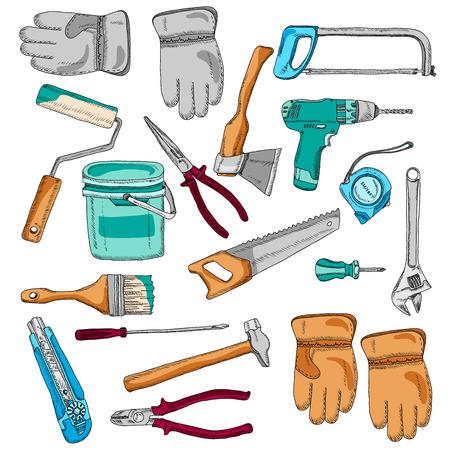 serrucho: Casa renovaci�n de herramientas e instrumentos de iconos conjunto con serrucho y el martillo cepillo color abstracto del vector ilustraci�n aislada