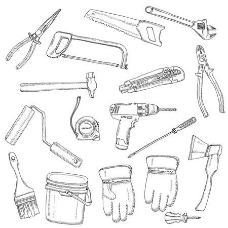 taladro electrico: Pintor herramientas renovadores negro esboz� iconos conjunto de tornillo-llave de la pintura-rodillo y taladro el�ctrico abstracto vector ilustraci�n aislada