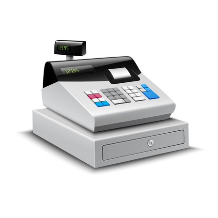 caja registradora: Realista moderna caja registradora con pantalla digital aislada en el fondo blanco ilustración vectorial