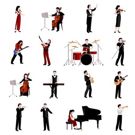 trompeta: Músicos iconos planos establecen con guitarristas pianista clarinete trompeta ilustración vectorial aislado