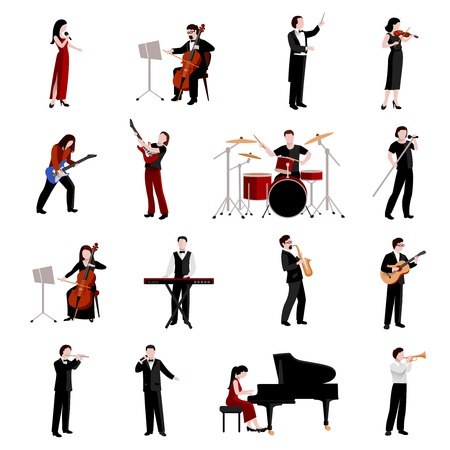 group objects: Musicians flat icons set with pianist clarinet trumpet guitar players isolated vector illustration