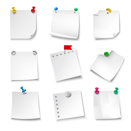 pinned: Blank note papers pinned with pushpins realistic set isolated vector illustration
