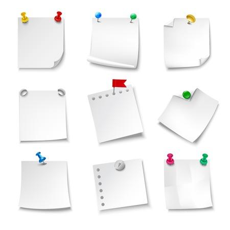 pushpins: Documentos de la nota en blanco clavado con chinchetas aislados conjunto realista ilustraci�n vectorial