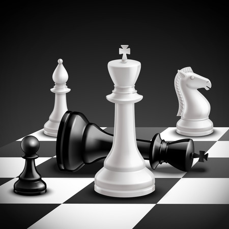 chess piece: Chess game concept with realistic board and black and white pieces vector illustration