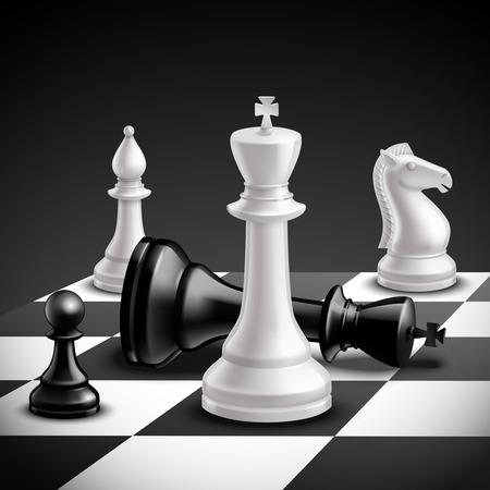 ajedrez: Concepto de juego de ajedrez con tablero realista y piezas en blanco y negro ilustraci�n vectorial