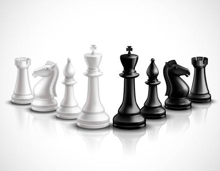 Realista juego de ajedrez iconos piezas 3d establecidos con la ilustración del vector de la reflexión