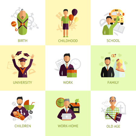 Nine stages of human life from birth to old age flat icons set abstract isolated vector illustration