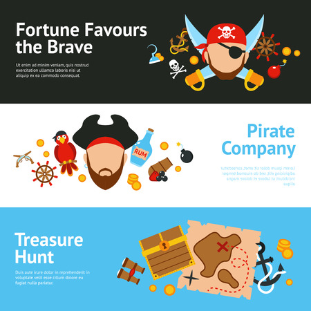Pirates adventure hunt for lost treasure sailing cruise advertisement banners set poster flat abstract isolated vector illustration