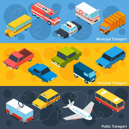 municipal: Transport horizontal banner set with municipal personal and public isometric elements isolated vector illustration Illustration