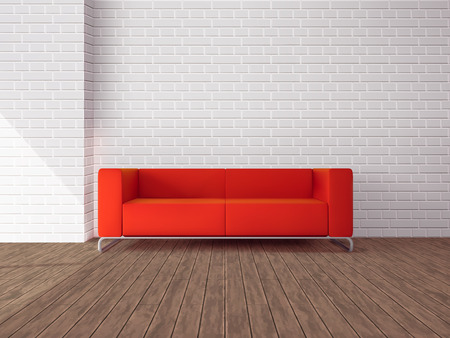 Realistic red sofa in room with wooden floor and white brick wall vector illustration