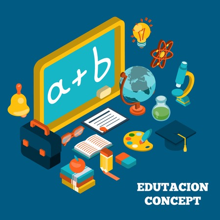 Education isometric concept with 3d blackboard and school learning symbols vector illustration