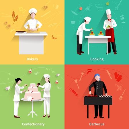 chef cocinando: Cocinar concepto de dise�o conjunto con confiter�a panader�a y barbacoa haciendo iconos planos aislados ilustraci�n vectorial