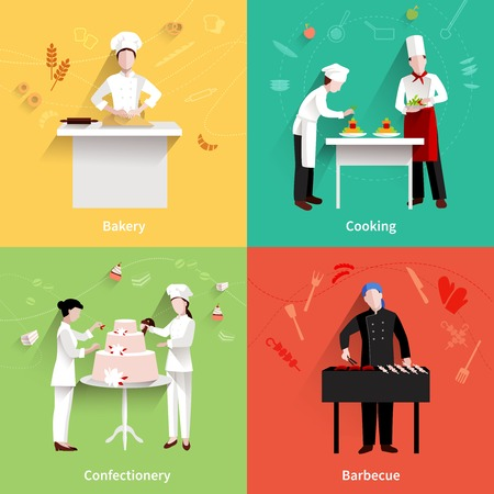 bakery: Cooking design concept set with bakery confectionery and barbecue making flat icons isolated vector illustration