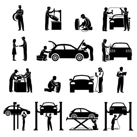 Auto usługi ikony czarny zestaw z mechanikiem i samochodów sylwetki Izolowane ilustracji wektorowych